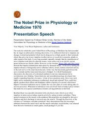 The Nobel Prize in Physiology or Medicine 1970 Presentation Speech