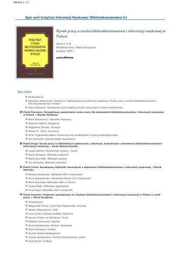 Rynek pracy a studia bibliotekoznawstwa i informacji naukowej w ...