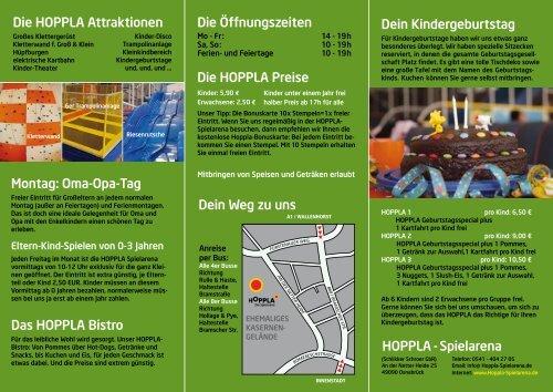 Die HOPPLA Attraktionen Montag: Oma-Opa-Tag Das HOPPLA ...