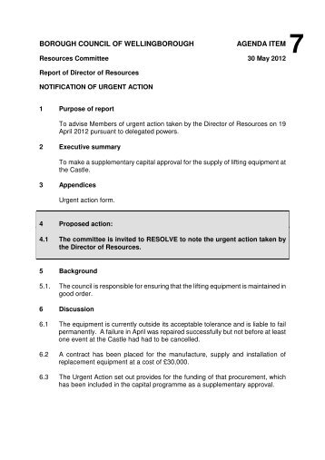 Download the Report 7 Urgent Action The Castle - Wellingborough ...