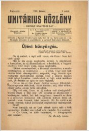 Unitárius Közlöny 1921 - Magyarországi Unitárius Egyház