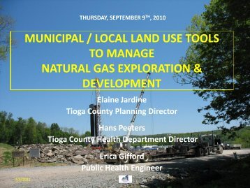 Local Land Use Tools for Natural Gas Exploration - Tioga County