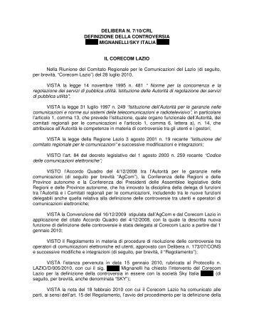 Delibera 07/10/CRL - Corecom Lazio