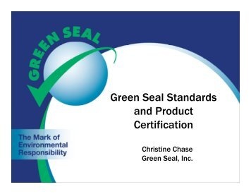 Green Seal Standards and Product Certification - NFMT