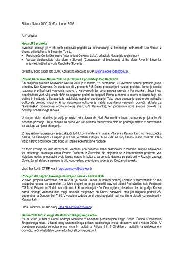 Bilten e Natura 2000, št. 63 / oktober 2006 (pdf, 109 KB)