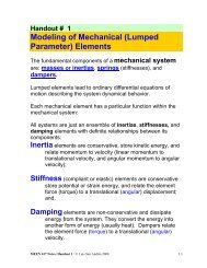 Modeling of Mechanical (Lumped Parameter) Elements
