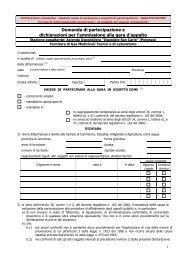 Domanda di partecipazione e dichiarazioni per l'ammissione alla ...