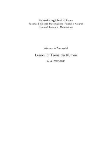 Lezioni di Teoria dei Numeri - Dipartimento di Matematica