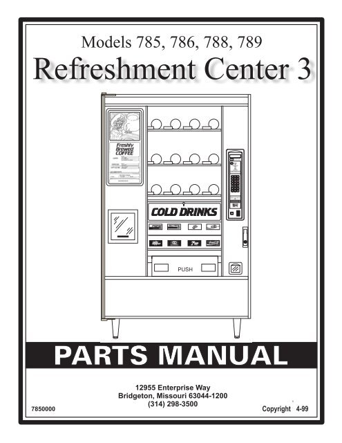 Refreshment Center 3 Parts Manual - Refurbished Vending Machines