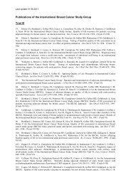 Trial VI specific publication list - IBCSG