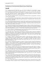 Trial VIII specific publication list - IBCSG