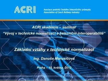 Základní vztahy v technické normalizaci - Ing. Danuše ... - ACRI