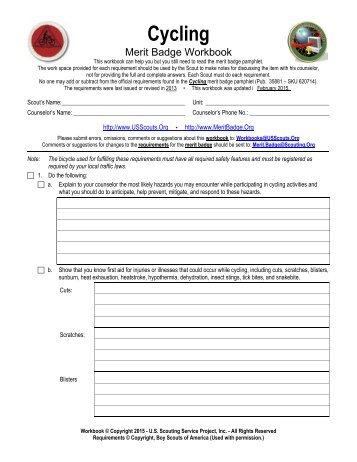 Cycling Merit Badge Worksheet - Www imagez co