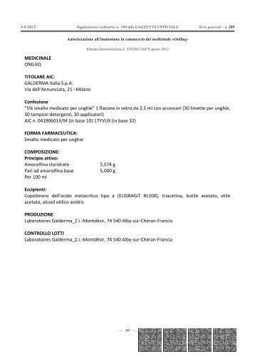 MEDICINALE ONILAQ TITOLARE AIC: GALDERMA ... - Gazzette.info