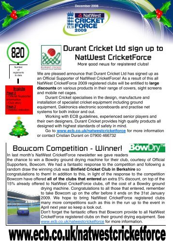 NatWest CricketForce newsletter - December 2008 - Ecb