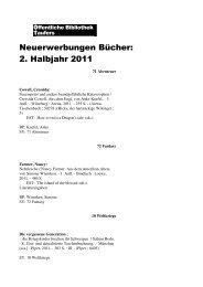 Neuerwerbungen Bücher 2. Halbjahr 2011