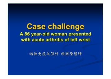 A 86 year-old woman presented with acute arthritis of left wrist
