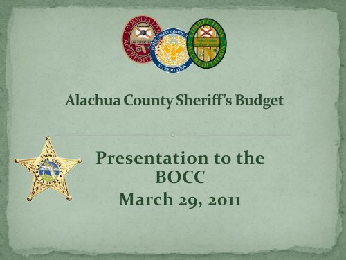 Budget for the Fiscal Year 2011-2012 - Alachua County