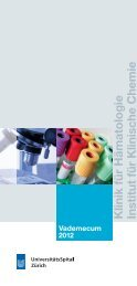 Klinik für Hämatologie Institut für Klinische Chemie