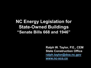 NC Energy Legislation for State-Owned Buildings - NC Project Green