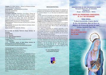 Folder da festa de Nossa Senhora da Soledade - Imagens e Fatos