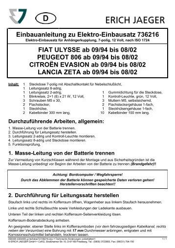 FIAT ULYSSE ab 09/94 bis 08/02 PEUGEOT 806 ab 09/94 bis 08/02 ...