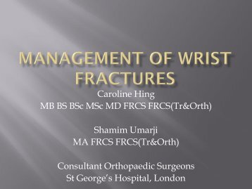 Management of wrist fractures - MOTEC LIFE-UK