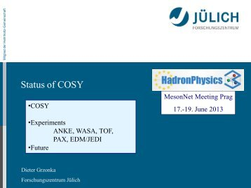 Status from COSY - Institute of Particle and Nuclear Physics