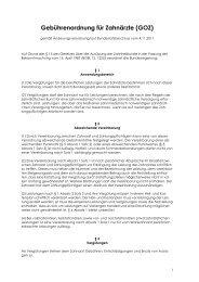 Gebührenordnung für Zahnärzte (GOZ)