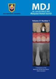Malaysian Dental Journal Volume 31 Number 1