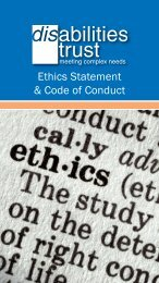 Ethics Statement & Code of Conduct - The Disabilities Trust