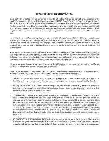 SMART Technologies ULC Contrat de licence logicielle de l ...