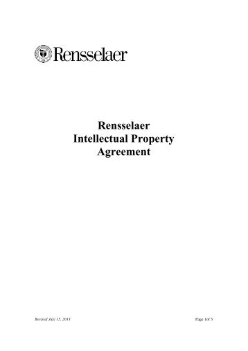 IP Agreement - Rensselaer Office of Technology Commercialization