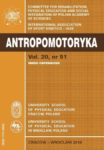 Antropomotoryka nr 51 - Akademia Wychowania Fizycznego w ...