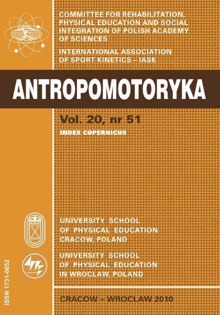 Antropomotoryka Nr 51 Akademia Wychowania Fizycznego W