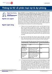 Thông tư 02 về phân loại nợ & dự phòng
