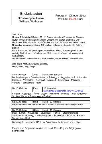 Erlebnislaufen Willisau. Programm Oktober 2012 - LZ Lauftreff