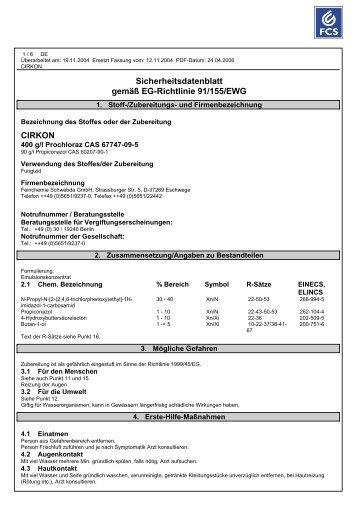 Sicherheitsdaten - Otto Reyle GmbH