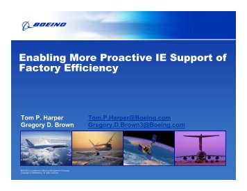 Enabling More Proactive IE Support of Factory Efficiency - Institute of ...