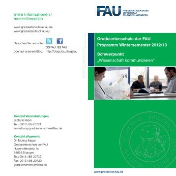 Wissenschaft kommunizieren - Graduiertenschule der FAU