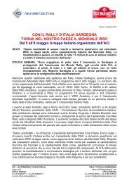 Comunicato stampa rally sardegna - ACI - Automobile Club Ascoli ...