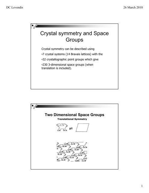 Crystal symmetry and Space Groups