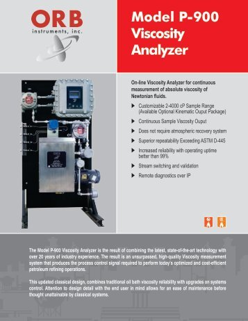 P-900 Viscosity Analyzer Brochure - OrbInstruments.com