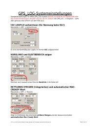 GPS_LOG Systemeinstellungen (ACHTUNG-Individuell anzupassen)