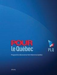 Consulter la plateforme électorale du PLQ. - Coopératives d'habitation