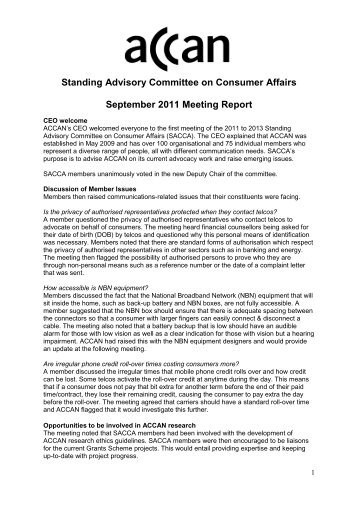 SACCA September 2011 meeting report - Australian ...