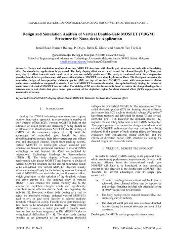 Design and Simulation Analysis of Vertical Double-Gate ... - ijssst