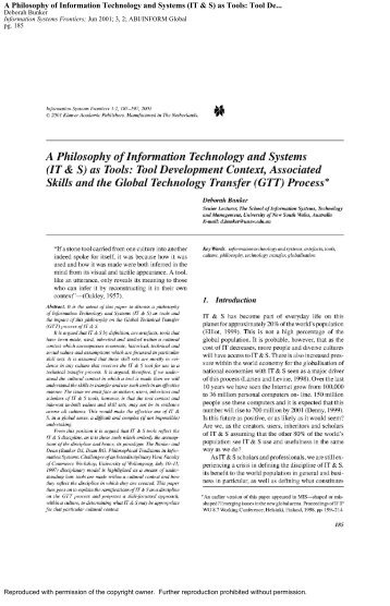 A Philosophy of Information Technology and Systems (IT & S) as ...