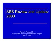 ABS Review and Update - Association of Program Directors in Surgery