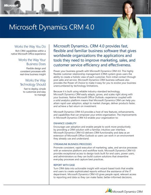 Microsoft Dynamics CRM 4 0 What's New - Ledgeview Partners